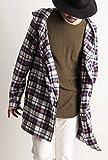 (バレッタ) Valletta ネルチェック パーカー ロングコート フード シャツ ジャケット ミドル丈 メンズ ストリートモード カジュアル 33ホワイト×ネイビー Mサイズ