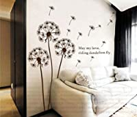Dandelion nursery kids room removable quote vinyl wall decals stickers AY695 by Bonamart