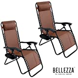 BELLEZZA© 2pack Zero Gravity Chairs Recliner Lounge Patio Chairs Folding Cup Holder Tray, Brown
