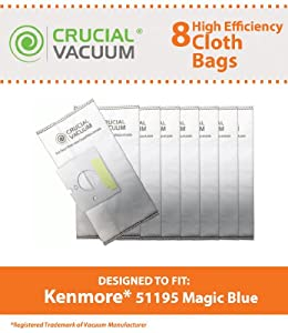 Kenmore 51195 Allergen Cloth 8-Pack Vacuum Bags Designed To Fit Kenmore Vacuum 51195 Magic Blue Canister; Compare Kenmore Part # 20-51195 (2051195) and Kenmore M Bags; Designed & Engineered By Crucial Vacuum