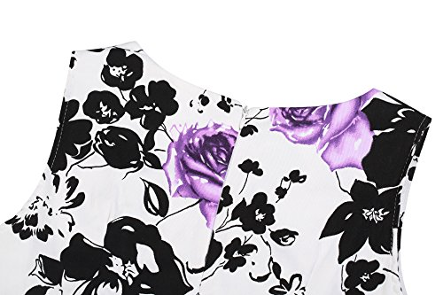 Creti Women's Vintage Classy 1950's Floral Sleeveless Party Evening Picnic Spring Garden Dress Cocktail Dress (XL, Purple)