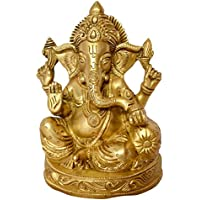 Art And Beautiful Ganesh. Four Hands Art Work With Resting One Hand On A Takiya (Pillow) In Brass Metal By Bharat...