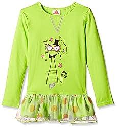 UFO Girls' Dress (AW-16-WR-GK-345_Lime Green_6 - 7 years)