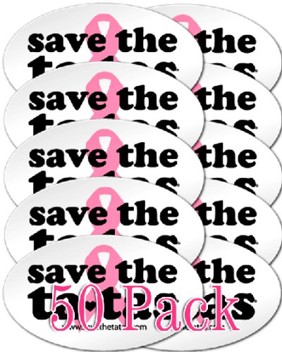 Save the ta-tas Sticker Pack of 50 - White