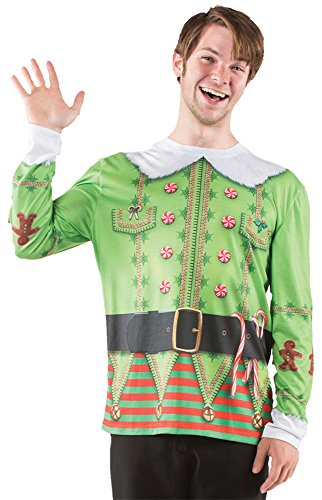 UHC Men's Ugly Elf Christmas Sweater Holiday Party Adult Halloween Costume, L (Elf Mascot Jumpsuit Adult Unisex Costume)