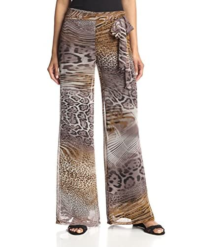 Kay Celine Women's Chiffon Tie Side Pant  [Animal]