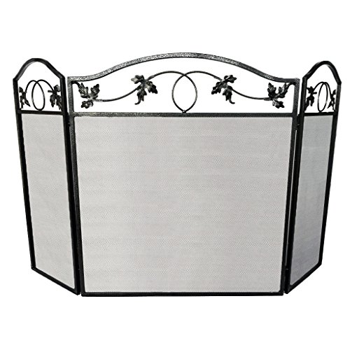 Amagabeli 3 Panel Pewter Wrought Iron Fireplace Screen Outdoor Large Metal Fire Place Screen Decorative Baby Safe Proof Mesh Cover Accessories Leaf Design Safety Gate Fence Doors by Hearth 30inch (Fireplace Screen Leaves compare prices)