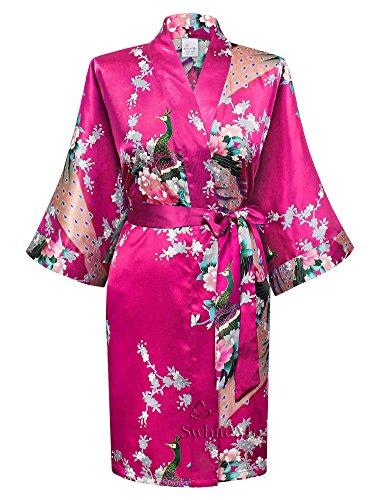 Women's Kimono Robe, Peacock, Fuchsia