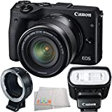 Canon EOS M3 Mirrorless Digital Camera with EF-M 18-55mm f/3.5-5.6 IS STM lens + EF-M Lens Mount Adapter + Canon Speedlite 90EX Flash + Microfiber Cleaning Cloth