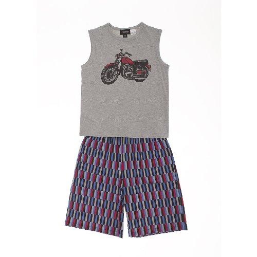Sovereign Sleepwear Boy Motorbike Print Vest And Shorts Cotton Summer Pj Set