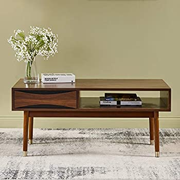 "Versanora VNF-00065 Dawson Coffee Table | Living Room 39.62"" x 21.62"" x 17.75"" Walnut"