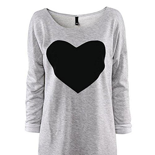 Aokdis Fashion Women Love Heart Printed Long Sleeved Round Neck T-Shirt (Xl) front-190224