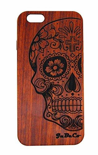 """JuBeCo Patterni, per iPhone 6 Plus/6S, 11,94 cm) (4,7"""") & 6 Plus/6S, 13,97 (5,5"""") cm), realizzato a mano, in legno massello naturale, Case.iPhone protettiva in legno di bambù, HOLZ, Half skull-Rose wood, iPhone 6/6s (4.7inch)"""