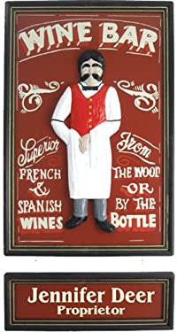 Wine Bar with Intricately Painted Waiter - Personalized 18x24