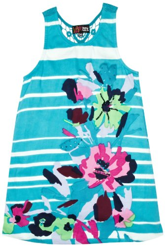 Yumi Girls Gardinia, Stripe and Flower Print Girl's Dress