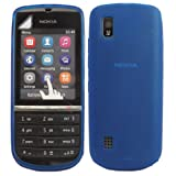 Gel Case Cover Skin And Screen Protector For Nokia Asha 300 / Blue