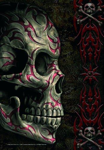 SPIRAL - Drapeau - Skull Tattoo - Noir
