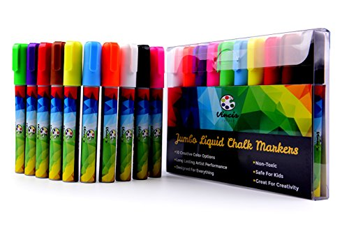 FALL CLOSEOUT SALE - ARTIST LIQUID CHALK MARKER SET - 10 Dry Erase Window Markers For Whiteboard Coloring - NON-TOXIC Magic Art Paint Pens Turn Glass to Chalkboard Canvas (Disney Chalkboard Paint compare prices)