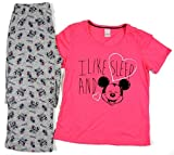 Disney Mickey Minnie Mouse Ladies Pink Grey Short Sleeve Long Bottoms