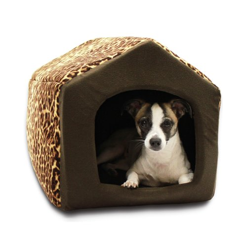 Best Friends by Sheri 2 in 1 Pet House-Sofa Pet Bed, 18 by 16 by 16-Inch, Large, Leopard Brown
