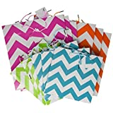 Fun Express Gift Bag Assortment - 12 Assorted Size Bright Gift Bags (chevron)