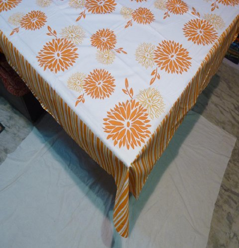 Vintage Table Cover 55 X 55 Stencil Rust 100% Cotton Table Cloth Table Linen