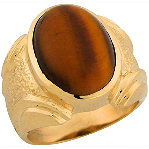 10k Solid Yellow Gold Nugget Tiger Eye Handsome Mans Ring