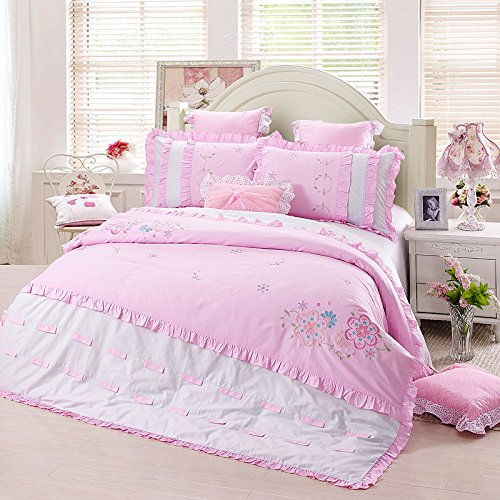 FADFAY Girls Fairy Bedding Sets Korean Cute Lace Ruffle Duvet Cover Bedding Set 4Pcs