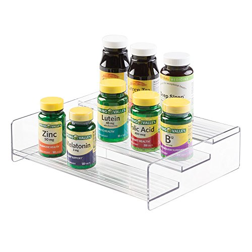 mDesign Storage Organizer for Vitamins, Supplements, Health Supplies - 3 Tier, Large, Clear (Plastic Shelves Medicine Cabinet compare prices)