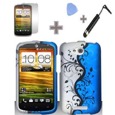 Click to buy Rubberized Blue Black Silver Vine Flower Snap on Design Case Hard Case Skin Cover Faceplate with Screen Protector, Case Opener and Stylus Pen for HTC One VX - AT&T - From only $17.65