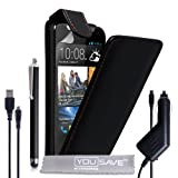 Yousave Accessories HTC Desire 310 Case Black PU Leather Flip Cover With Stylus Pen, Car Charger And
