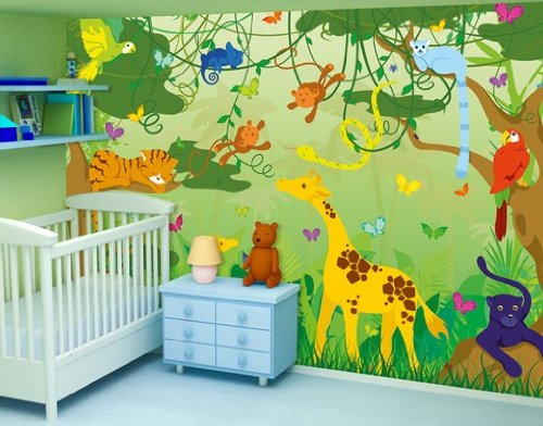 fototapete fototapeten tapete tapeten comic jungle 400x280cm inkl kleister kinder. Black Bedroom Furniture Sets. Home Design Ideas