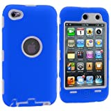 Importer520 (TM) 3-Piece Deluxe Hybrid Premium Rugged Hard Soft Case Skin Cover for Apple iPod Touch 4G, 4th Generation, 4th Gen 8GB / 32GB / 64GB - Blue / White