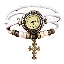 buy Towallmark(Tm) Quartz Weave Around Cross Leather Bracelet Lady Woman Wrist Watch (White)