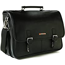 Alpine Swiss Leather Briefcase Laptop Case Messenger Bag1 Year Mfg's Warranty