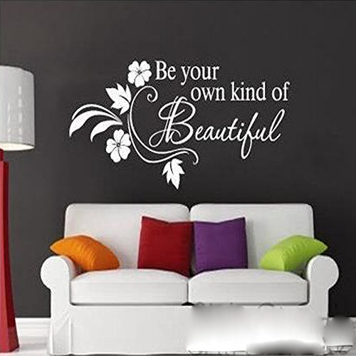 Witkey Be Your Own Kind Of Beautiful Flower Vine Wall Sticker Art Decor Decal Quote Decals DIY (white) - 1