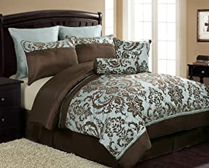 Amazon.com: VCNY Daniella 8-Piece Flocked Comforter Set