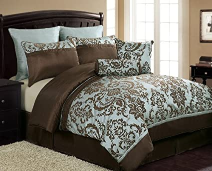 Amazon.com - Victoria Classics Daniella 8-Piece Flocked Comforter ...