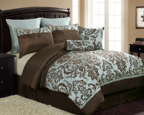 chocolate brown and blue bedding 8 piece flocked comforter set que