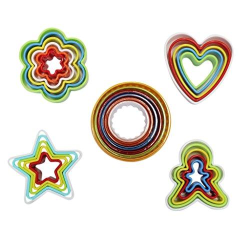 KurtzyTM Emporte-pièces Colorés en Plastique Cœurs Étoiles Fleurs Cercles Bonhommes de Pain d'Épice