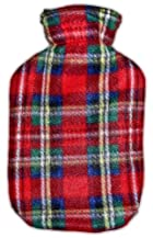 Warm Tradition Red Green Plaid Fleece Covered Hot Water Bottle - Bottle Made in Germany, Cover Made in USA