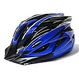 【AHKAH WORKS】男女兼用 軽量 自転車用 ヘルメット サングラス付 サイズ調整可 (ブラック×ブルー)