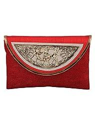 Craftstages Ethnic Designer Jute Sling Bag For Women (Material: Jute, Colour: Red)