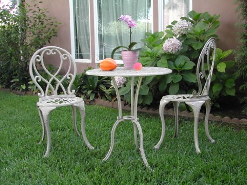 Outdoor Patio Furniture 3 Piece Cast Aluminum Bistro Set F CBM1290