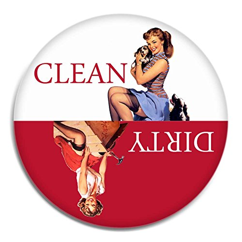 Red Retro Clean Dirty Dishwasher Magnet (Dishwasher Clean Dirty Sticker compare prices)