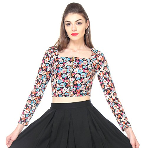 b5277f5475714 Multi Floral Crop Top with Front Zip 338 Price in India