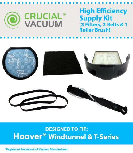 Hoover Supply Kit Designed To Fit All Hoover Windtunnel T-Series Bagless Uprights; Compare To Part # 303173001, 303172002, 562289001, 303280001, 303202001; Designed & Engineered By Crucial Vacuum