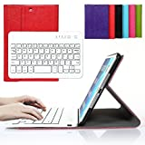 Bestmall Ultra-Slim Removable Wireless Bluetooth Keyboard PU Folding Leather Folio Keyboard Case Cover For Apple ipad mini, ipad mini 2, ipad mini 3 Built in Stand Function-Red