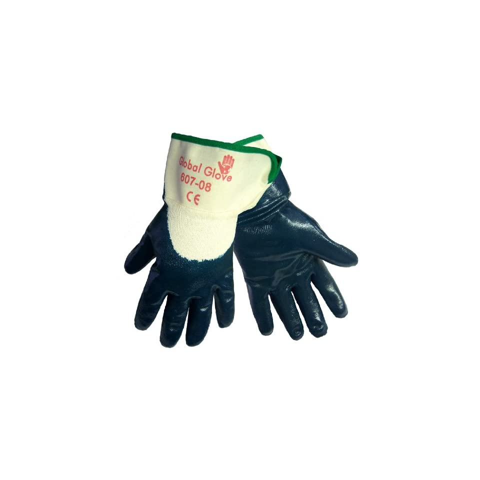 Global Glove 607 Nitrile Dipped on 2 Piece Jersey Liner Glove with Safety Cuff, Chemical Resistent, Medium, Light Blue (Case of 72)