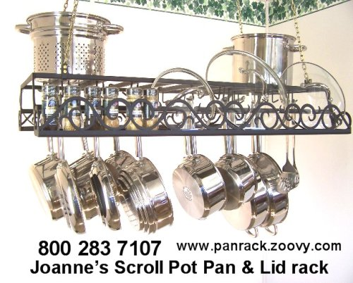 Cheap Hanging Pot Rack & lid holder with flat artistic iron scrolls (HPOTLIDPCSCROLL)
